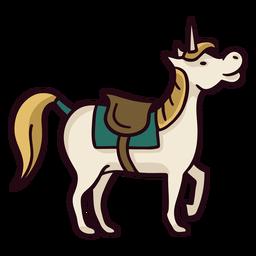 Trazo de icono colorido caballo unicornio