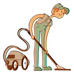 Aspiradora aspiradora trabajador ilustración
