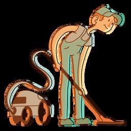 Vacuum cleaner hoover worker illustration