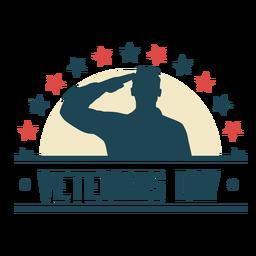 Insignia plana del día de los veteranos