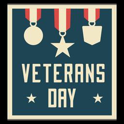 Día de los veteranos medallas planas