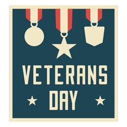 Veterans day medals flat