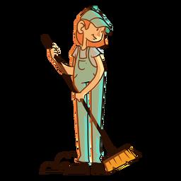 Worker dust cleaning brush illustration