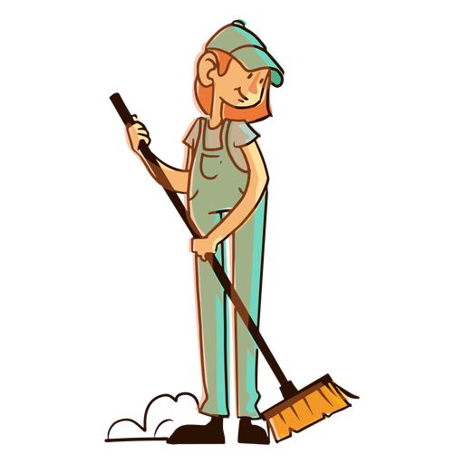 Worker dust cleaning brush illustration Transparent PNG