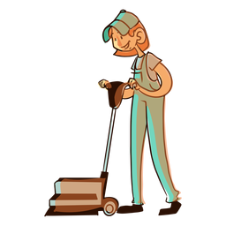 Worker floor cleaning machine illustration