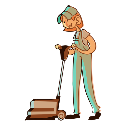 Worker floor cleaning machine illustration Transparent PNG