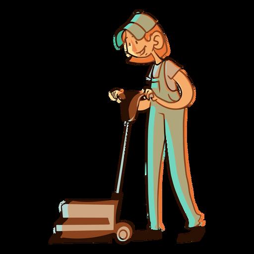 Worker floor cleaning machine illustration