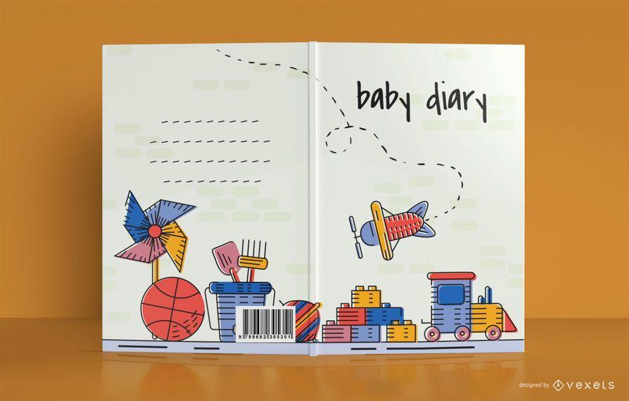 Diseño de portada de libro de diario de bebé de juguete