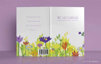 Diseño de portada floral para cuaderno de bocetos