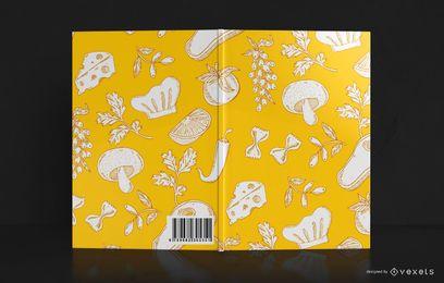 Design de capa de livro de padrão de comida