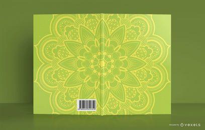 Design de capa de livro de mandala amarela