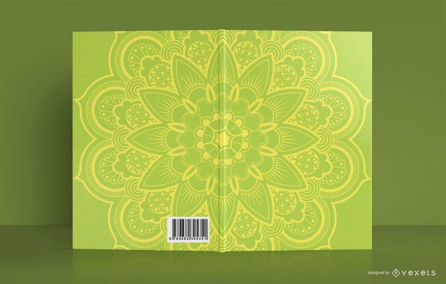 Diseño de portada de libro amarillo Mandala