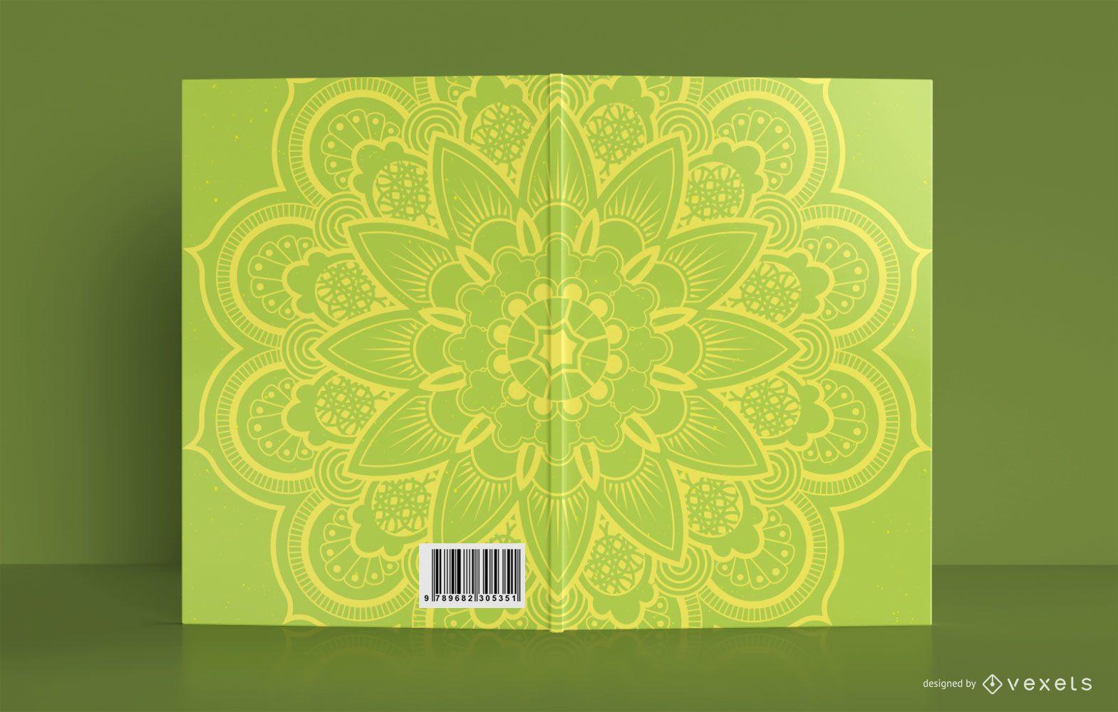 Design da capa do livro com mandala amarela