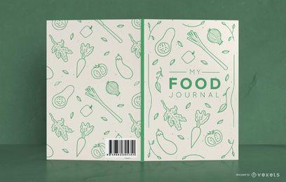 Diseño de portada de diario de comida de Doodle