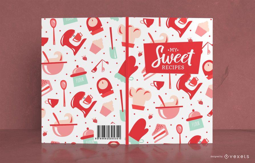 Design de capa de livro com padrão de receita doce
