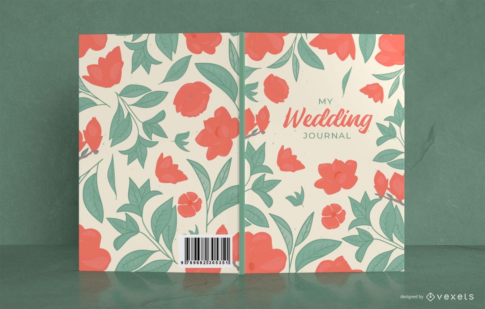 Design floral da capa do livro de casamento