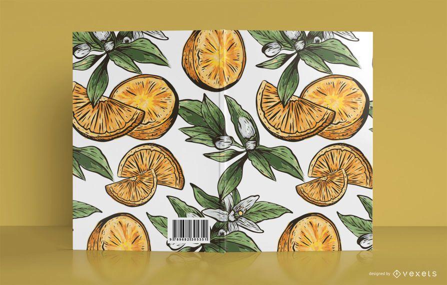 Diseño de portada de libro de ilustración naranja