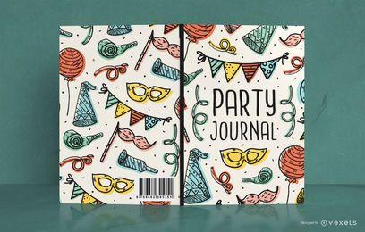Design de capa de livro de doodle de festa