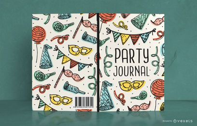 Diseño de portada de libro de fiesta Doodle