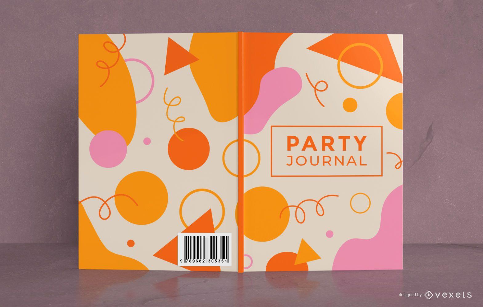 Diseño de portada de libro de diario de fiesta colorido