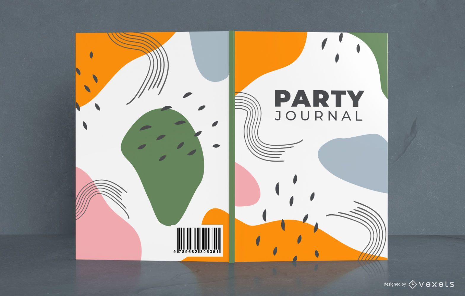 Diseño de portada de revista de fiesta abstracta