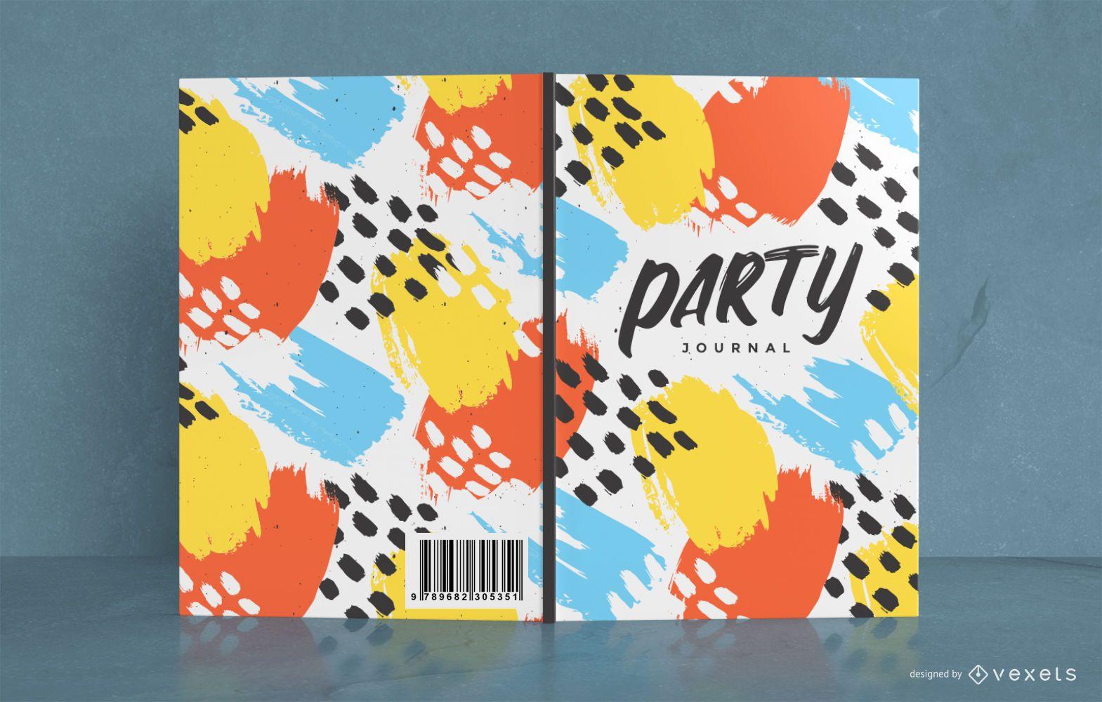 Dise?o de portada de libro de fiesta abstracto colorido