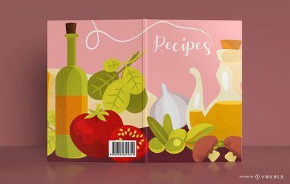 Diseño de portada de libro de ilustración de comida de receta