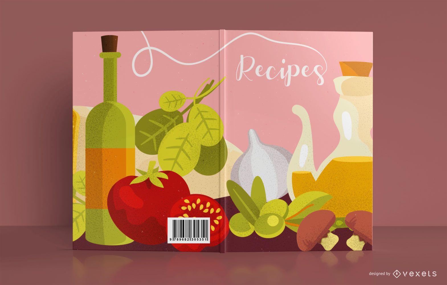Recipe Food Illustration Book Cover Design