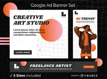 Conjunto de banners de anúncios de artistas