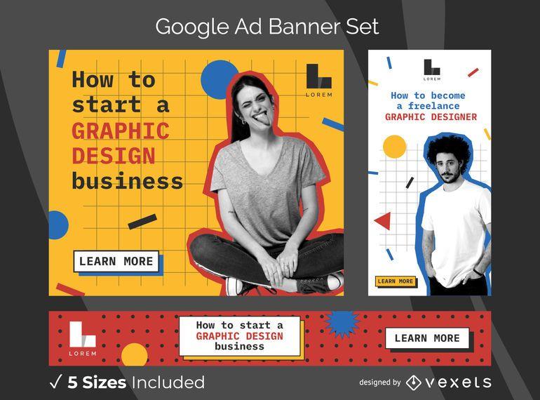 Conjunto de banners de anuncios de diseñador gráfico