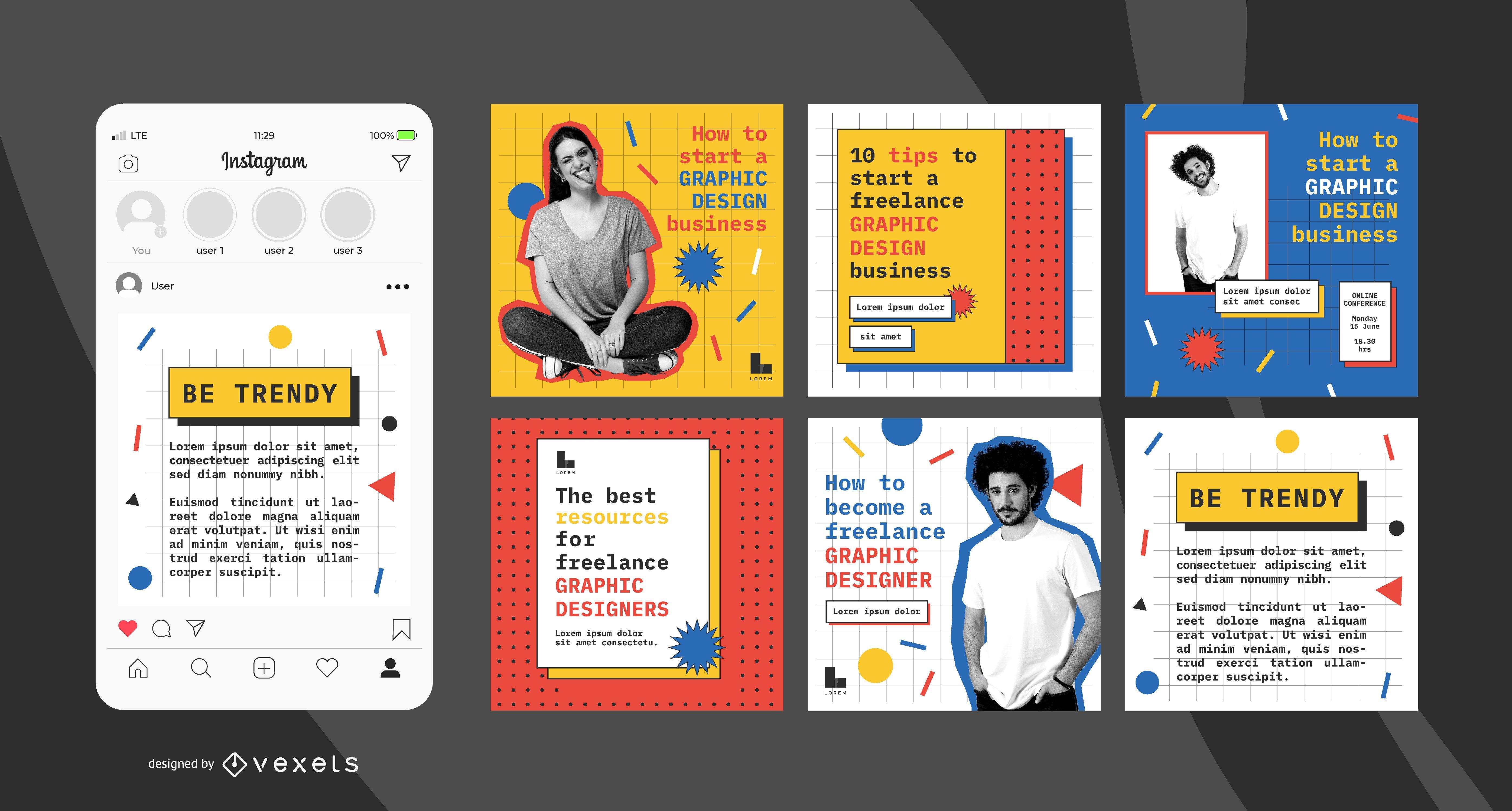 Conjunto de publicaciones de redes sociales de diseñador gráfico.