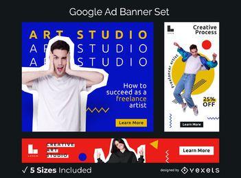 Conjunto de banners de anuncios de estudio de arte