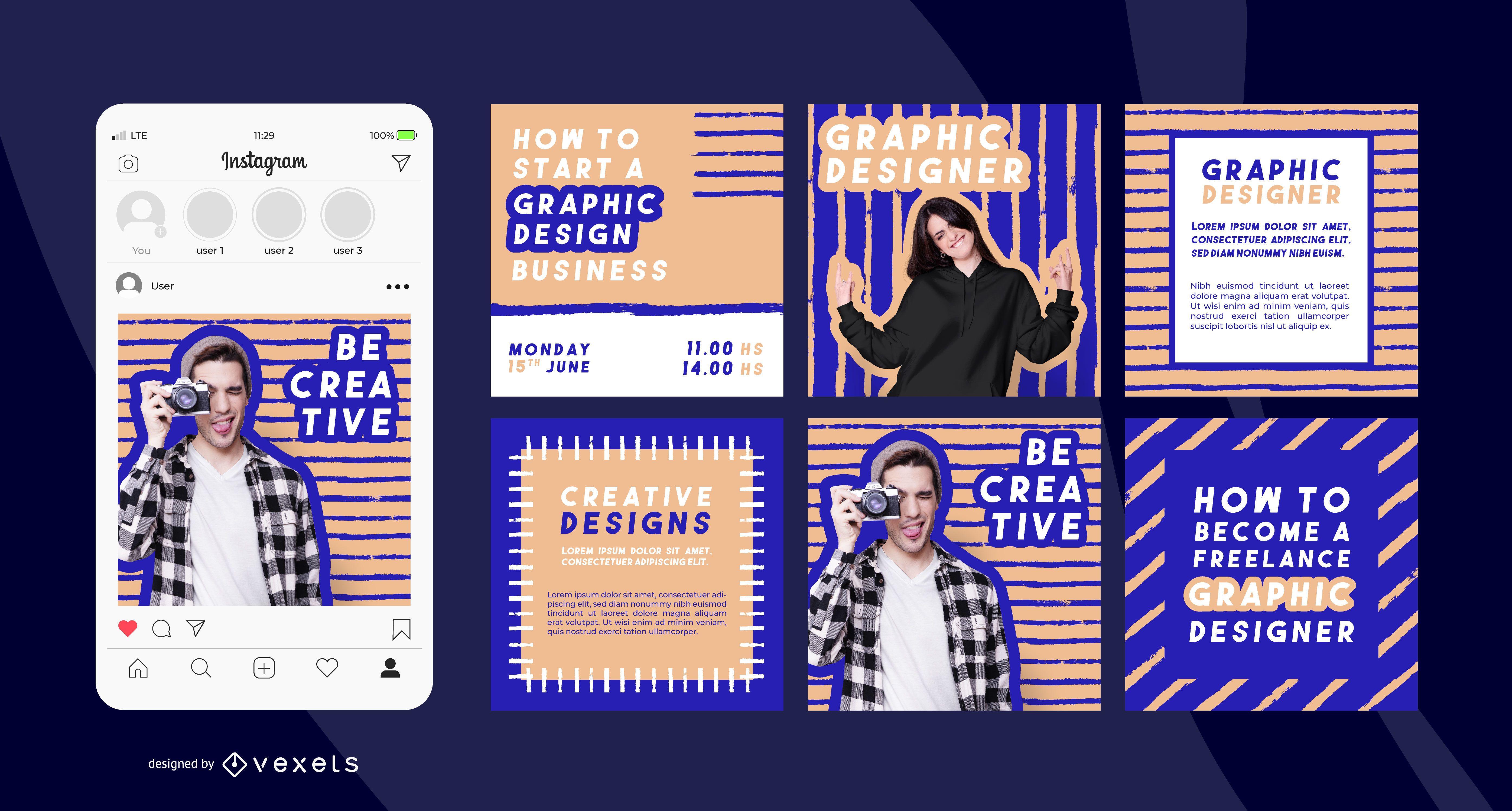 Creative Social Media Post Set Vector Download