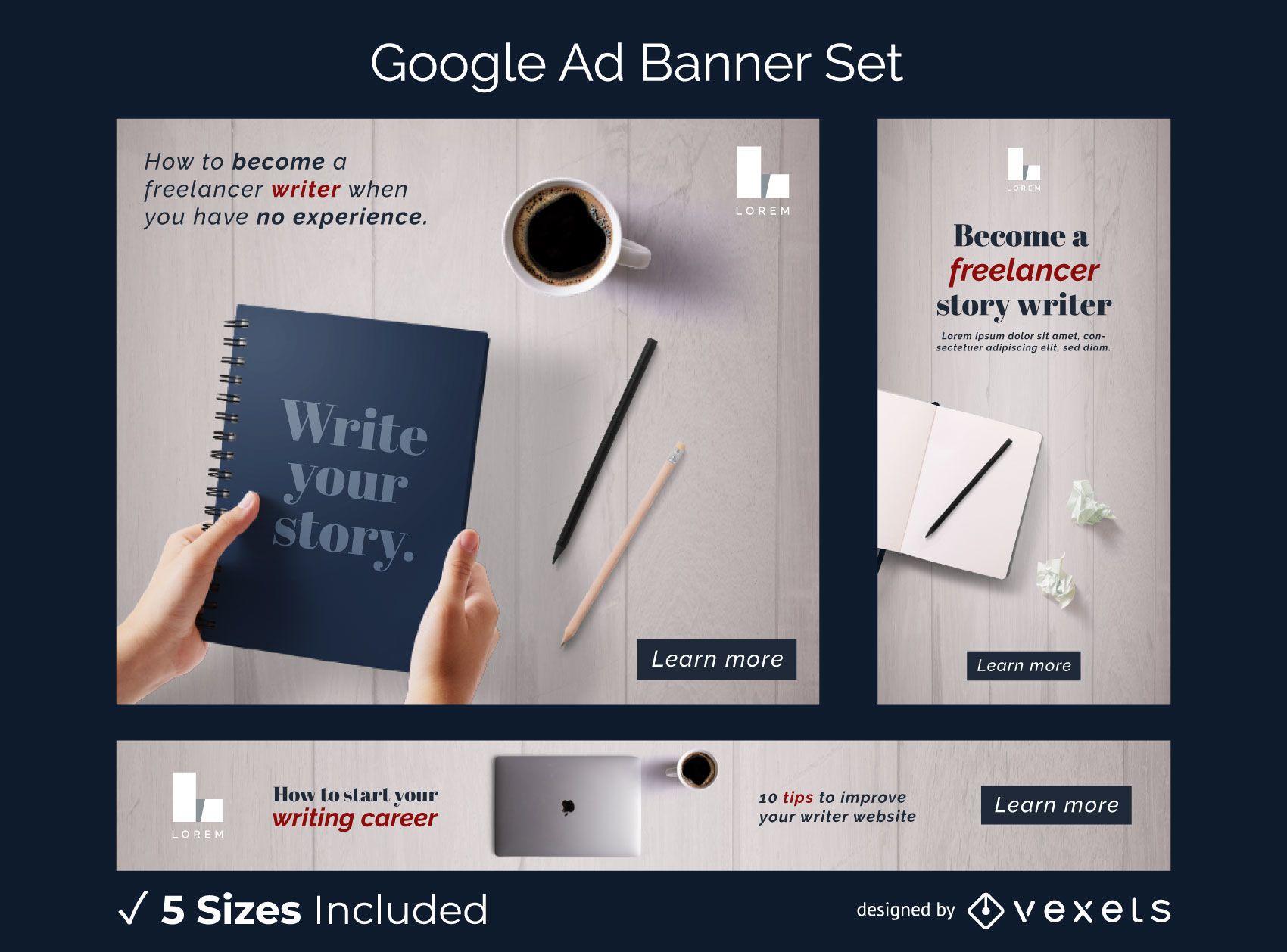 Conjunto de banners de anuncios de escritor