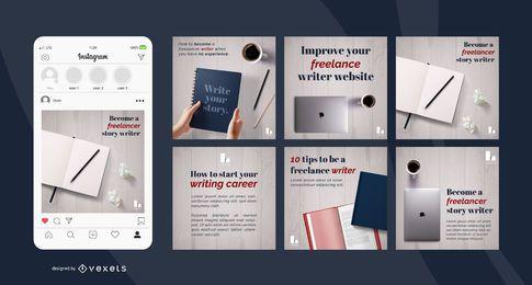 Conjunto de publicaciones de redes sociales de escritor