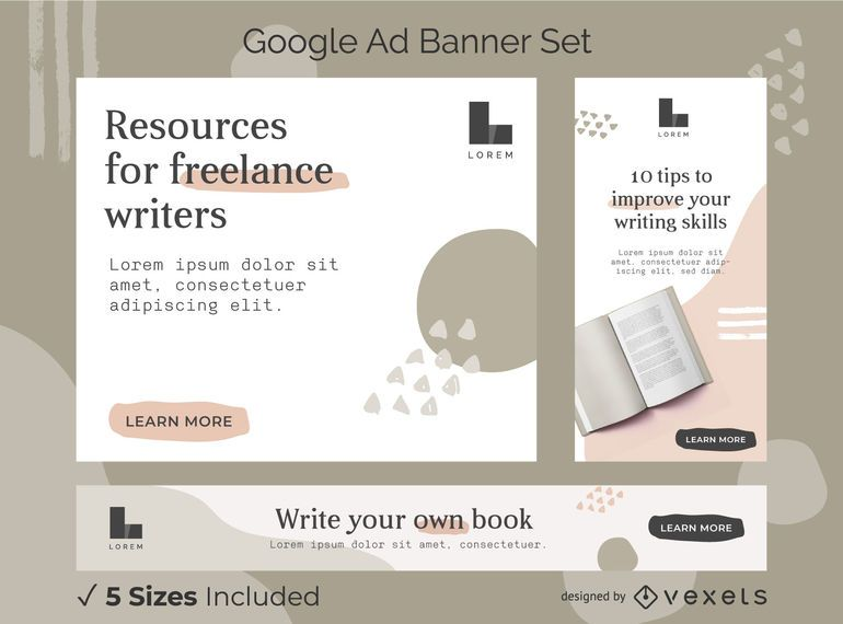 Writer abstract ads banner set