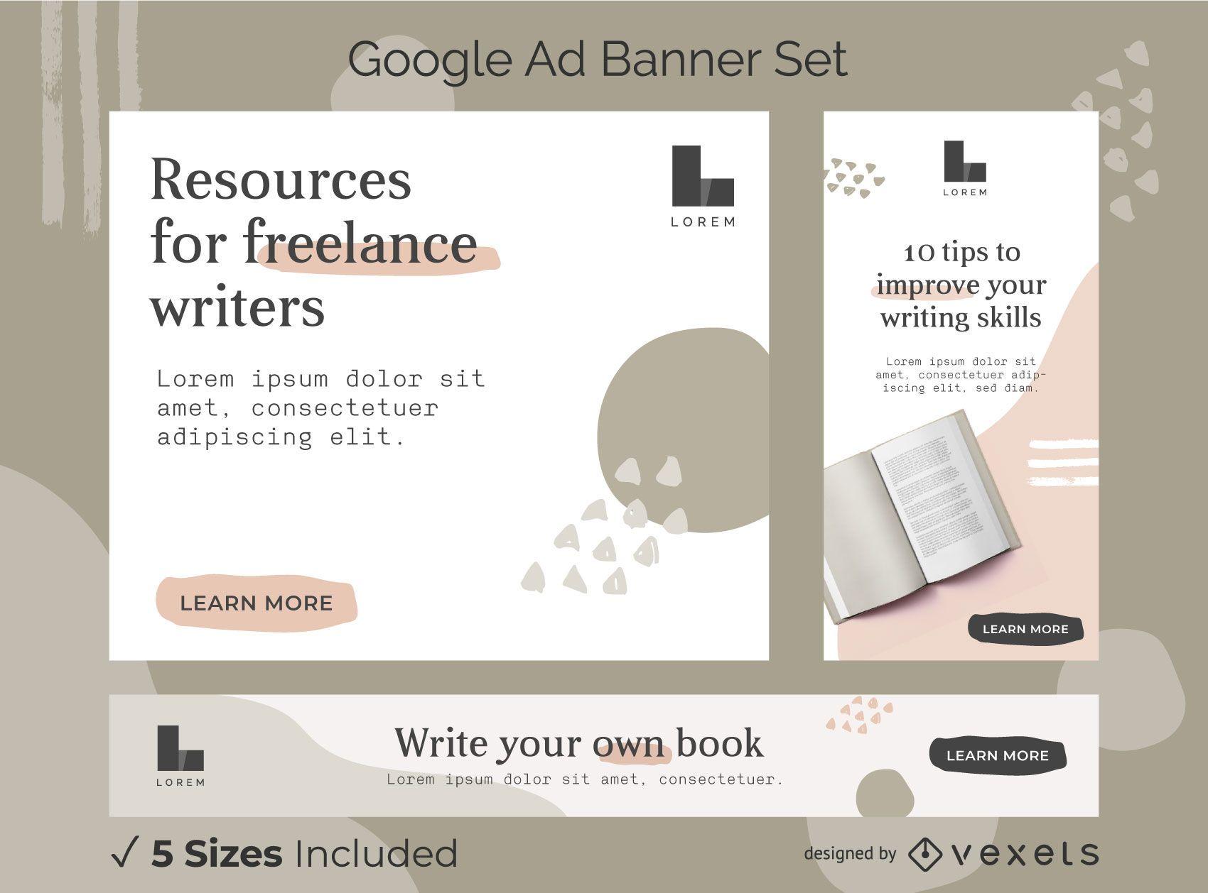 Conjunto de banner de anuncios abstractos de escritor