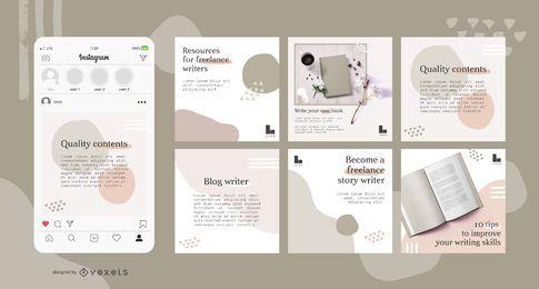 Conjunto de publicaciones de redes sociales abstractas de escritor