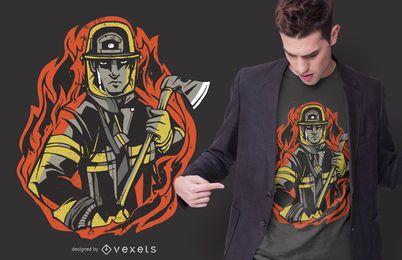 Diseño de camiseta de bombero de llamas