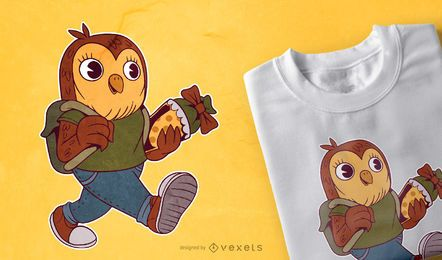 Diseño de camiseta de búho escolar