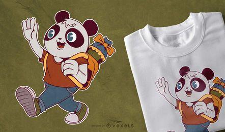 Design de camiseta de panda de escola