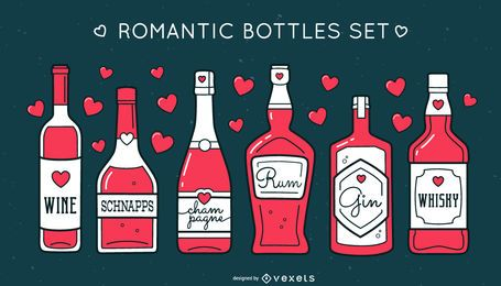 Conjunto de botellas de alcohol romántico