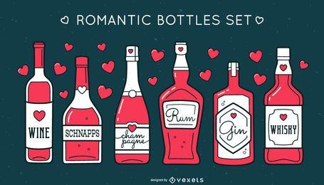 Conjunto de garrafas de álcool romântico