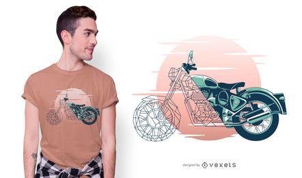 Diseño de camiseta de motocicleta geométrica