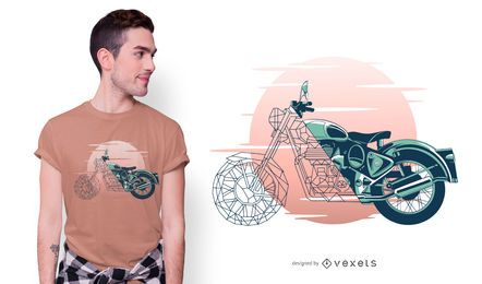 Geometric Motorcycle T-shirt Design