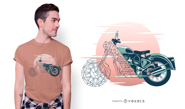 Geometric Motorcycle T-shirt Design