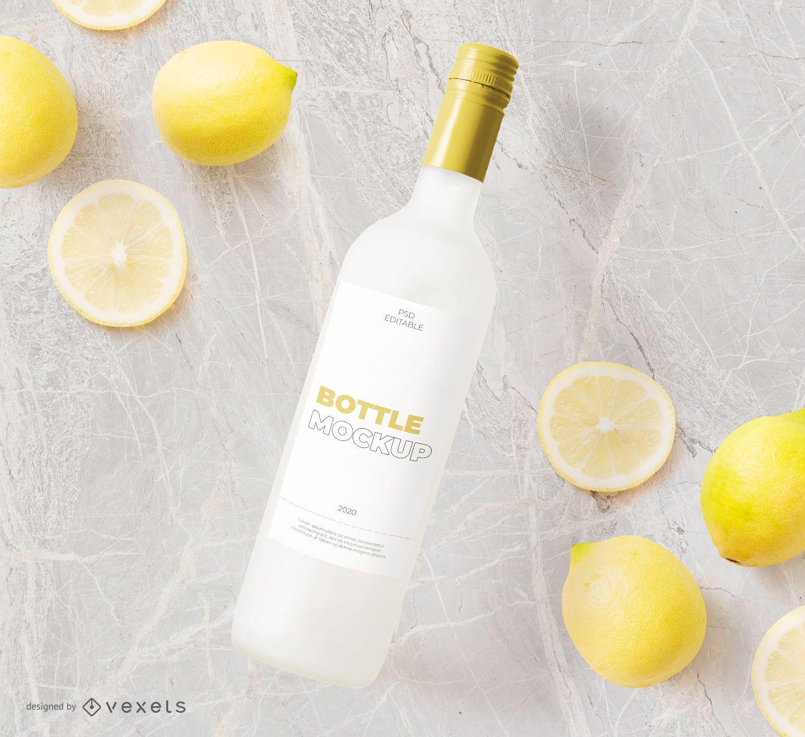 Bottle and lemons mockup composition
