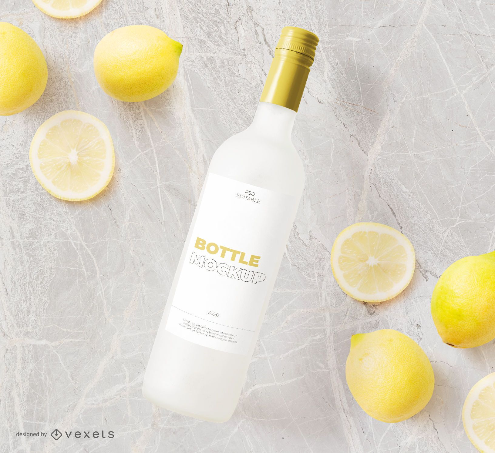 Composición de maqueta de botella y limones.
