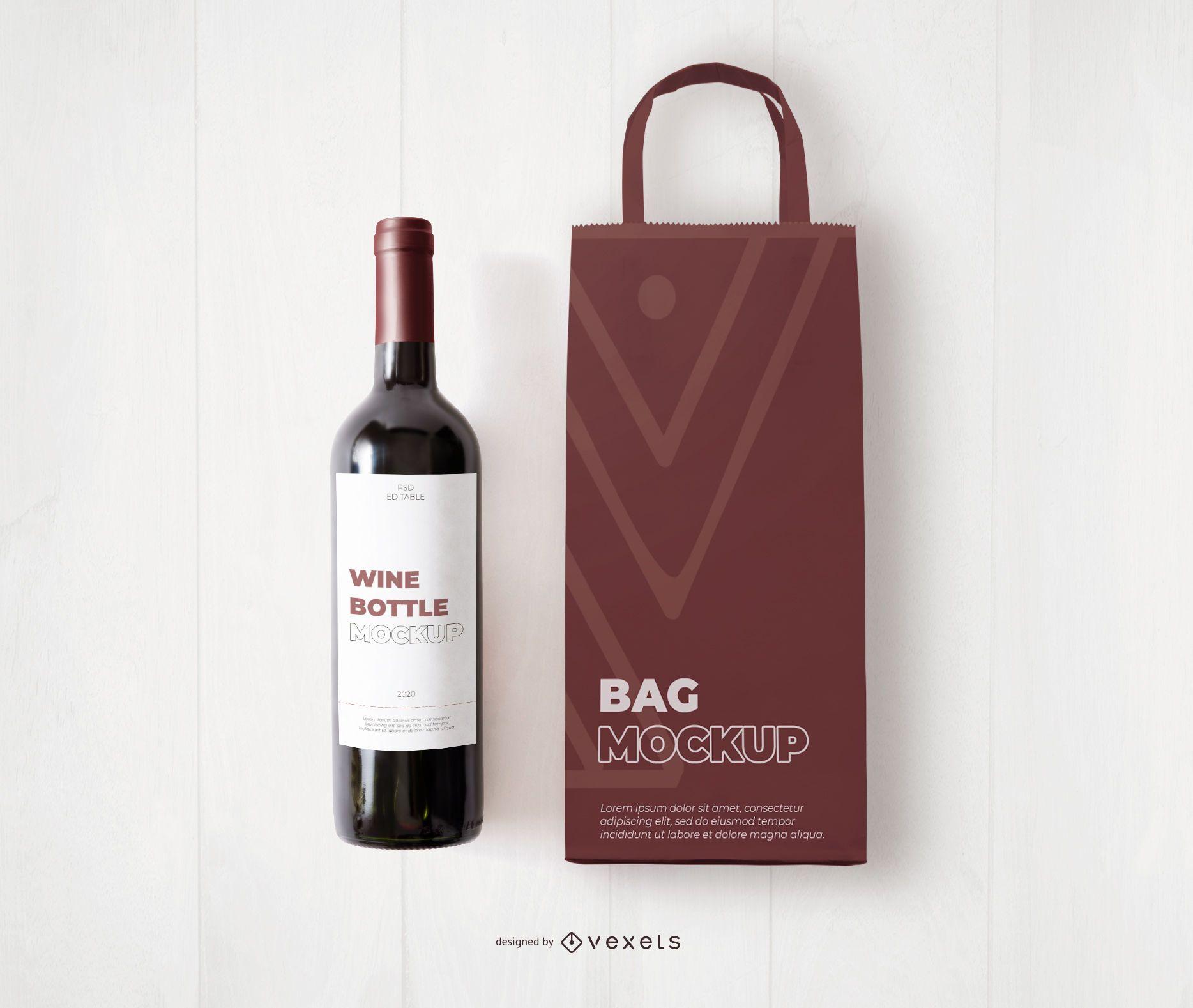 Maqueta de bolsa y botella de vino