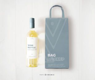 White wine bag and bottle mockup